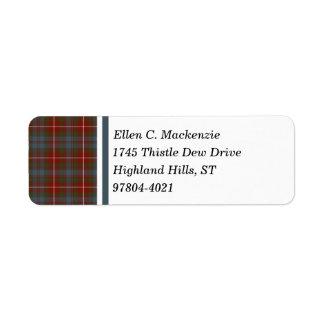 Fraser of Lovat Dark Red Weathered Scottish Tartan Return Address Label