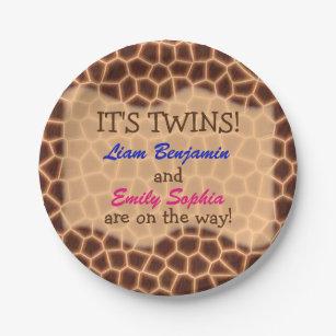 Fraternal Twins - Giraffe Themed Baby Shower Paper Plate  sc 1 st  Zazzle & Baby Giraffe Plates | Zazzle.com.au