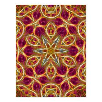 Frayed threads kaleidoscope vertical postcard