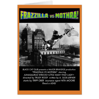 Frazzilla vs Moth! A Cat Halloween Note Card