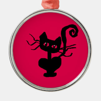 Frazzle Kitty Cartoon Cat Metal Ornament