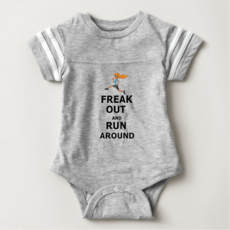Freak Out And Run Around, funny scared girl design Baby Bodysuit