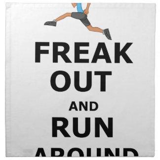 Freak Out And Run Around, funny scared girl design Napkin