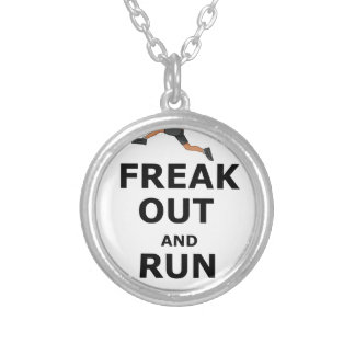 Freak Out And Run Around, funny scared girl design Silver Plated Necklace