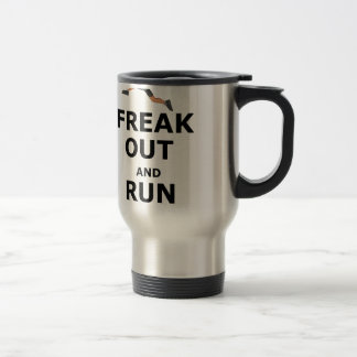 Freak Out And Run Around, funny scared girl design Travel Mug