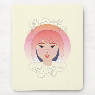 Freak Out: Drawing of a Girl Mouse Pad