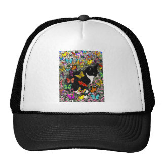 Freckles in Butterflies - Black and White Kitty Cap