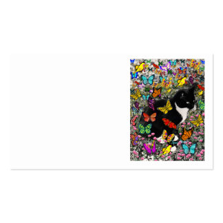 Freckles in Butterflies - Black & White Tux Cat Double-Sided Standard Business Cards (Pack Of 100)