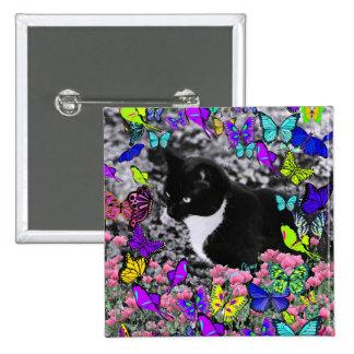 Freckles in Butterflies II - Tux Kitty Cat Pinback Button