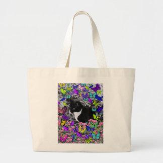 Freckles in Butterflies II - Tux Kitty Cat Tote Bags