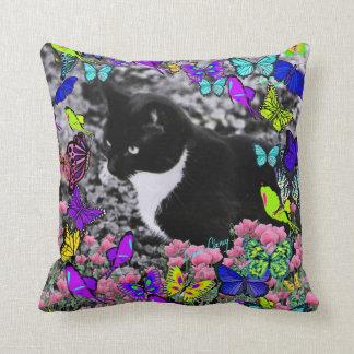 Freckles in Butterflies II - Tuxedo Cat Throw Pillows