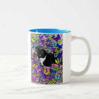 Freckles in Butterflies II - Tuxedo Cat Coffee Mugs