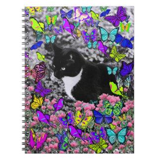 Freckles in Butterflies II - Tuxedo Cat Spiral Note Book