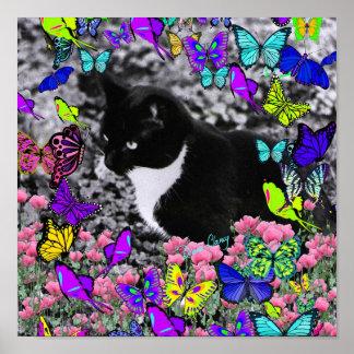 Freckles in Butterflies II - Tuxedo Cat Print