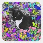 Freckles in Butterflies II - Tuxedo Cat Square Sticker