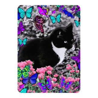 "Freckles in Butterflies III, Tux Kitty Cat 5"" X 7"" Invitation Card"