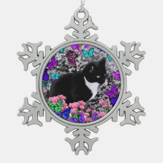 Freckles in Butterflies III, Tux Kitty Cat Snowflake Pewter Christmas Ornament
