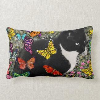 Freckles in Butterflies - Tux Kitty Cat Lumbar Pillow