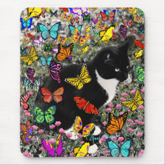 Freckles in Butterflies - Tux Kitty Cat Mouse Pad