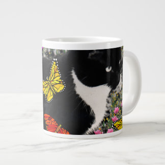 Freckles in Butterflies - Tux Kitty Cat 20 Oz Large Ceramic Coffee Mug