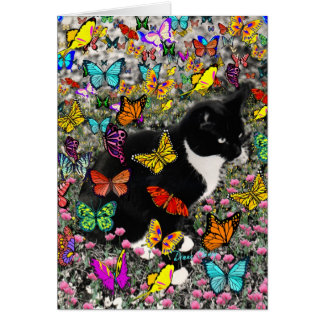 Freckles in Butterflies - Tuxedo Kitty Greeting Cards