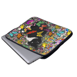 Freckles in Butterflies - Tuxedo Kitty Computer Sleeve