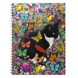 Freckles in Butterflies - Tuxedo Kitty Spiral Note Books