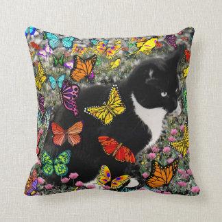 Freckles in Butterflies - Tuxedo Kitty Pillows