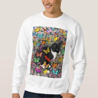 Freckles in Butterflies - Tuxedo Kitty Pullover Sweatshirt