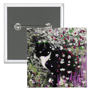 Freckles in Flowers I - Black and White Tux Kitty Button
