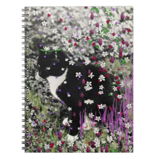 Freckles in Flowers I - Tux Kitty Cat Spiral Notebooks