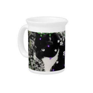 Freckles in Flowers I - Tux Kitty Cat Beverage Pitcher