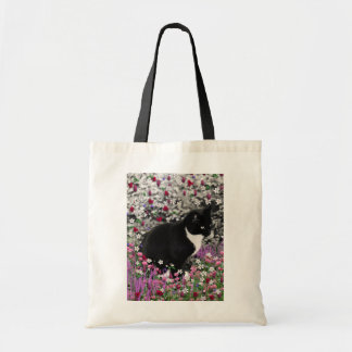 Freckles in Flowers II - Black and White Kitty Cat Canvas Bags