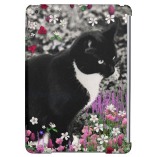 Freckles in Flowers II, Black and White Tuxedo Cat