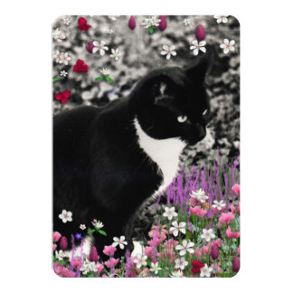 """Freckles in Flowers II, Black and White Tuxedo Cat 5"""" X 7"""" Invitation Card"""