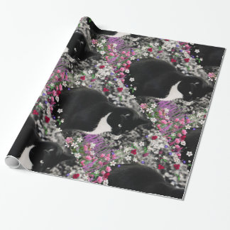 Freckles in Flowers II, Black White Tuxedo Cat