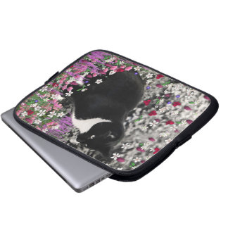 Freckles in Flowers II - Black White Tuxedo Cat Computer Sleeve