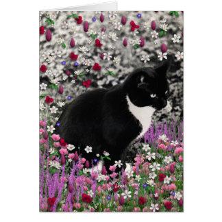Freckles in Flowers II - Black White Tuxedo Kitty Greeting Card