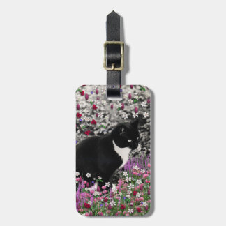 Freckles in Flowers II - Tux Kitty Cat Bag Tag