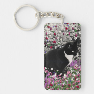 Freckles in Flowers II - Tux Kitty Cat Single-Sided Rectangular Acrylic Key Ring