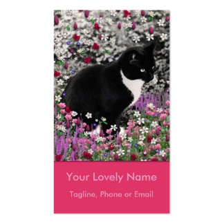 Freckles in Flowers II - Tuxedo Kitty Cat Pack Of Standard Business Cards