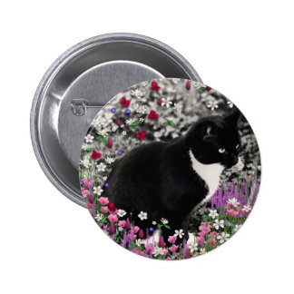 Freckles in Flowers II - Tuxedo Kitty Cat Pinback Buttons