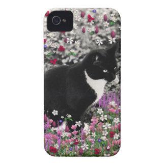 Freckles in Flowers II - Tuxedo Kitty Cat iPhone 4 Case-Mate Case
