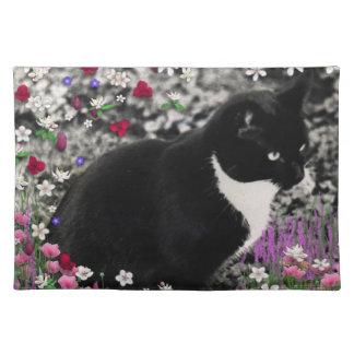 Freckles in Flowers II - Tuxedo Kitty Cat Place Mats