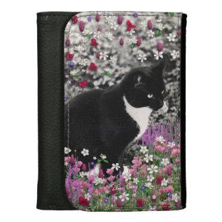 Freckles in Flowers II - Tuxedo Kitty Cat Leather Wallet