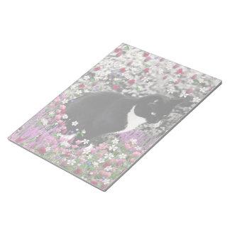 Freckles in Flowers II - Tuxedo Kitty Cat Memo Pad