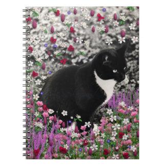 Freckles in Flowers II - Tuxedo Kitty Cat Spiral Notebooks