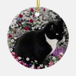 Freckles in Flowers II - Tuxedo Kitty Cat Round Ceramic Decoration