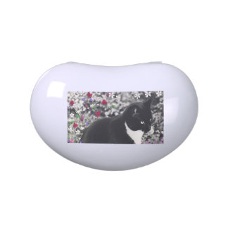 Freckles in Flowers II - Tuxedo Kitty Cat Candy Tins