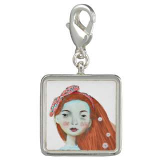 Freckles pendant charm cute red head girl